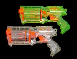 x2 Nerf N-Strike Maverick REV-6 Clear Green Revolver Blaster Dart Guns Lot - $27.95