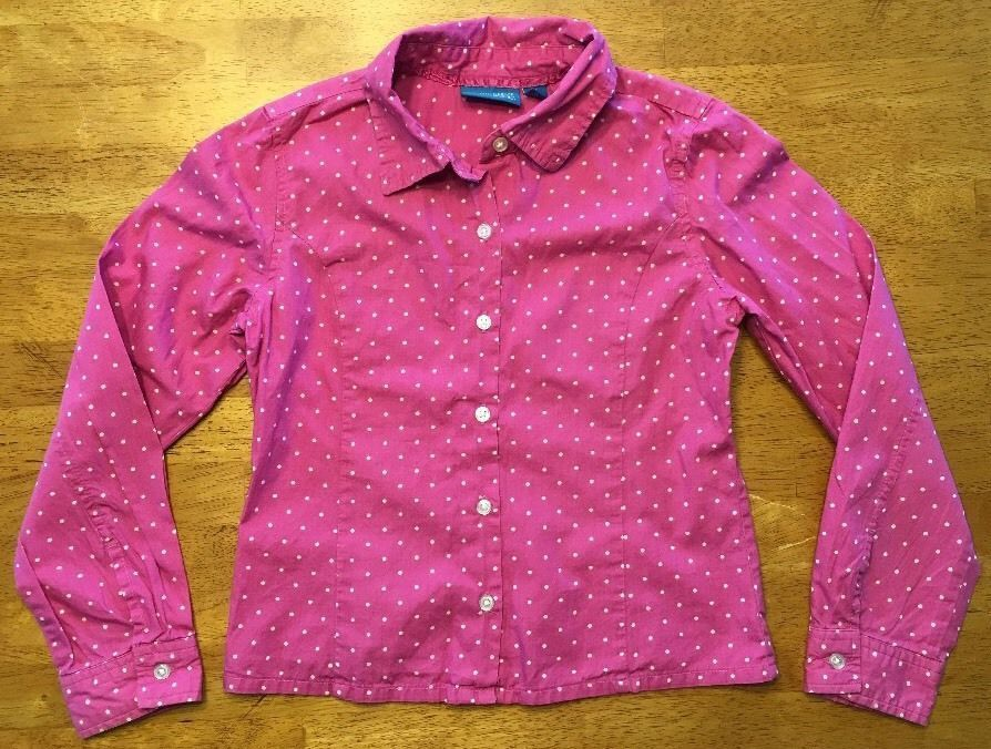 Primary image for The Children's Place Girl's Pink & White Polka Dot Dress Shirt - Size Medium 7/8