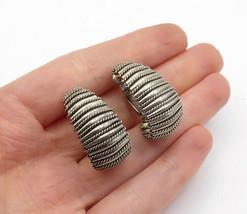 925 Sterling Silver - Vintage Dark Tone Twist Patterned Hoop Earrings - ... - $35.21