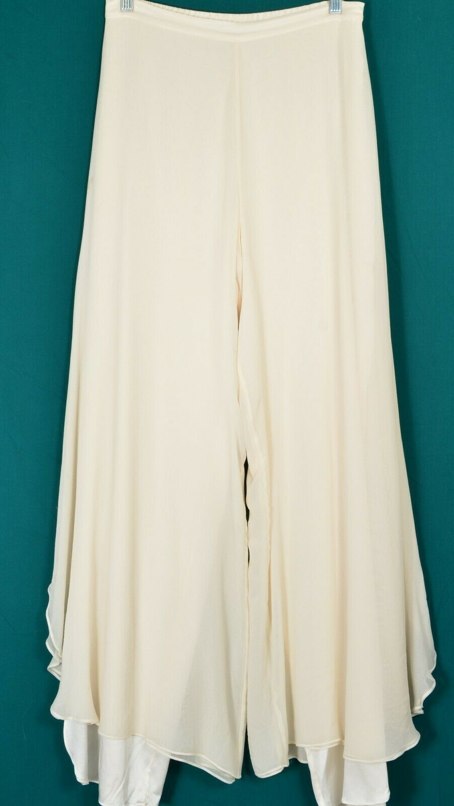 St John pants Evening SZ 8 off-white cream 2-layer silk long slits on leg USA image 6