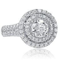 1.95 TCW Round Cut Diamond Halo Engagement Ring 14k White Gold - $3,721.41