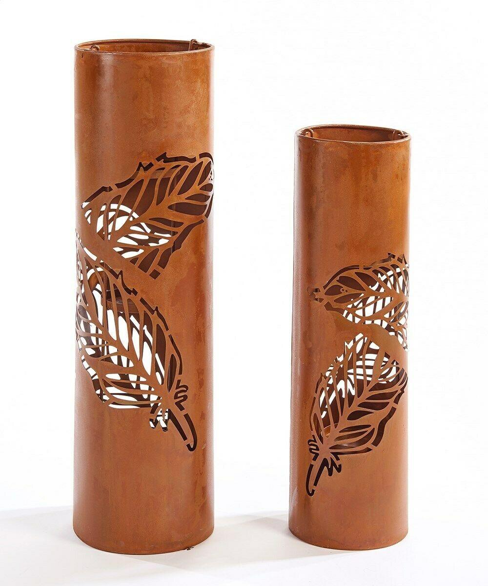 "Set of 2 Rustic Lantern Design Pillar Candle Holders 22.5"" high & 27.3"" high - $128.69"