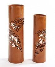 "Set of 2 Rustic Lantern Design Pillar Candle Holders 22.5"" high & 27.3"" high"