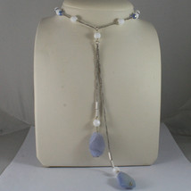 .925 SILVER RHODIUM NECKLACE WITH  BLUE AND WHITE AGATE AND BLUE CRISTALS image 1