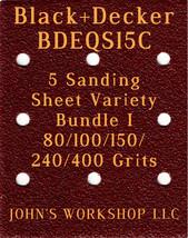 Black+Decker BDEQS15C - 80/100/150/240/400 Grits - 5 Sandpaper Variety B... - $7.53