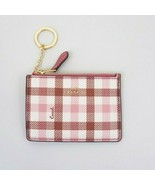 NWT COACH Mini Skinny ID Wallet Key Chain Gingham Pink Brown Coated Canvas  - $28.04