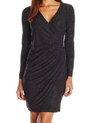 Calvin Klein Long Sleeve Mock Wrap Glitter Sheath Dress Black 8