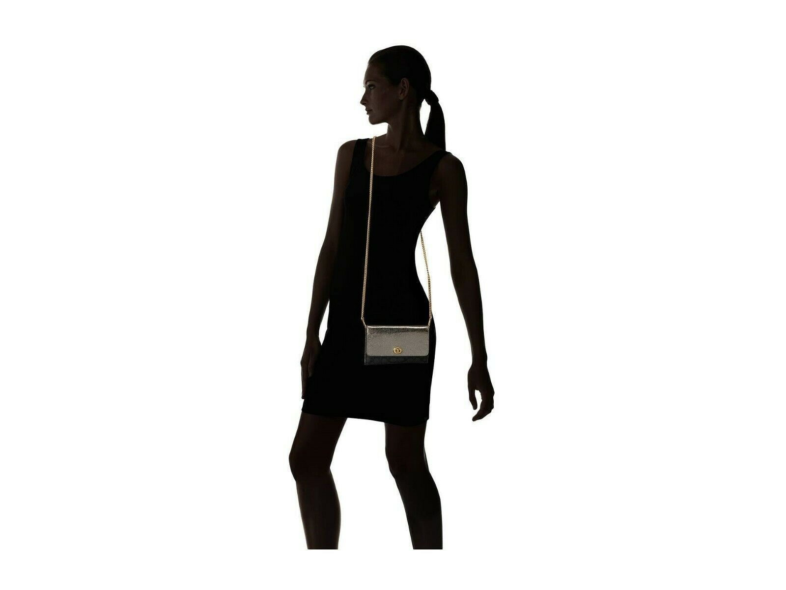 NWT COACH TURNLOCK SIGNATURE LEATHER CROSSBODY BAG CHARCOAL GRAPHITE