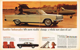 Vintage 1965 2-Page Magazine Ad Rambler Ambassador Spacious Glamorous Powerful - $5.93