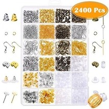 Paxcoo 2400Pcs Earring Making Supplies Kit With 24 Style Earring Hooks,... - $25.38