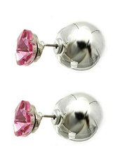 Heart Solitaire Double Sided Ball Earrings (Pink Heart / Silvertone Ball) image 2