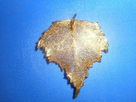 VINTAGE REAL LEAF GOLD DIPPED PENDANT - $22.65