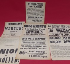 VINTAGE 1960's CIVIL WAR BROADSIDES~COLLECTION #2~ POSTERS(4)~RARE~FREE ... - $20.78