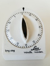 Lux Minute Minder Long Ring Mechanical Timer White 60 Minutes - $8.14