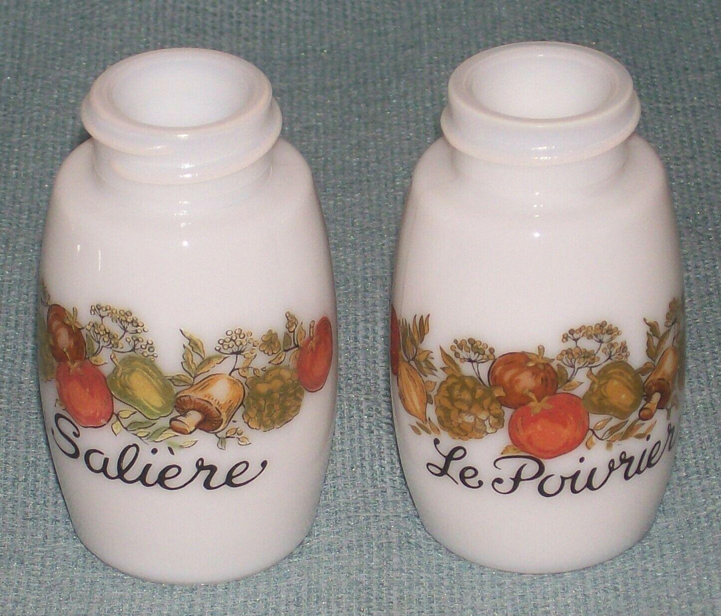 Vtg SPICE OF LIFE Salt and Pepper Shakers- ChromeTops -Corelle Gemco Corning GU  image 3