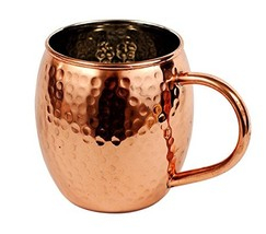 Hammered Copper Moscow Mule Barrel Mug With Nickel Lining - 16 Ounce - $12.85