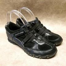 Skechers Womens Bikers Daytona 46294 Size 7 Black Slip On Walking Sneakers - $21.99
