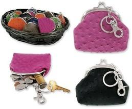 New Faux Ostrich Leather Coin Pouch Kiss Lock Purse Key Chain Brown Blac... - $6.99