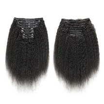 """16"""" 10 Pcs 120g Kinky Straight Human Hair Extensions Clip In Hair Extensions Rem"""