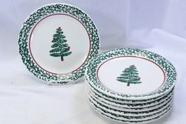"Furio Xmas Tree Dinner Plates Sponge 10.25"" Set of 8 Made in Italy - $61.69"