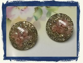 VTG 40s Pink Flowers Gold Flake Silver Glitter 3D Acrylic Round Clip On ... - $17.98