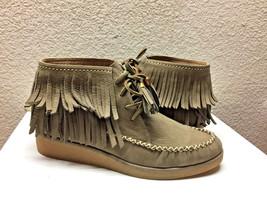 UGG CALEB MOUSE FRINGE NUBUCK SLIP ON BOOTIES SHOES US 7 / EU 38 / UK 5.... - $116.88