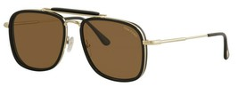 Tom Ford HUCK 665 01E Black Gold / Brown Sunglasses TF665-01E 58mm - $234.22