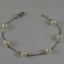 SOLID 18K WHITE GOLD BRACELET WITH FRESHWATER WHITE PEARL MADE IN ITALY 7.28 IN image 1