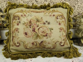 "15"" Beautiful Vintage Chic Charm French Style Handmade Needlepoint Pillo... - $69.78"