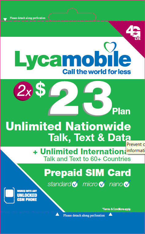 Primary image for Lycamobile $23 Plan Preloaded Two 2 Months 3in1 Unlimited Talk Data Text 2GB 4G