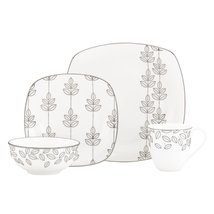 "LENOX ""PLATINUM LEAF"" DINNERWARE SET OF 3 FINE BONE CHINA MADE IN USA SILVER NEW - $218.90"