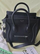 Celine Nano Luggage Shoulder Bag handbag Black Drummed Calfskin  - $2,029.49