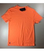 Men's Polo Ralph Lauren Sleeved Pocket T-Shirt Tee Pony Logo Orange, Size L - $29.69