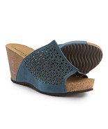 NIB Marina Luna Comfort Made in Italy Perforated Wedge Sandals, Blue, Si... - $49.49