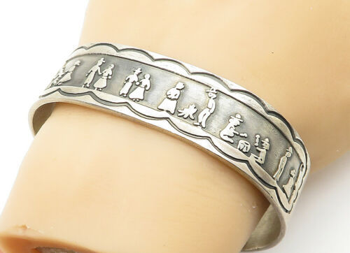 Primary image for MEXICO 925 Sterling Silver - Vintage Patterned Storyteller Cuff Bracelet - B6216