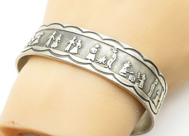 MEXICO 925 Sterling Silver - Vintage Patterned Storyteller Cuff Bracelet... - $159.60