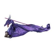 Celtic Purple Dragon With Skulls Statue Incense Holder Burner Figurine - $19.79