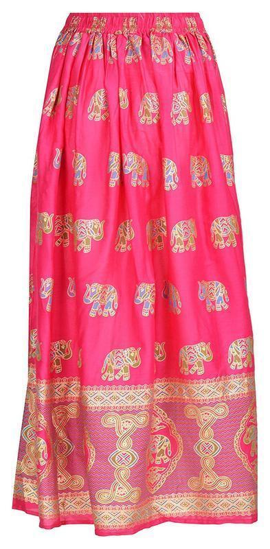 Indian Traditional Ladies Women Free Size Elastic Waist Cotton Long Maxi Skirt