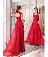 Elegant Chiffon Queen Anne Neckline Full-length A-line Evening Dress Pro... - $179.00