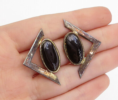 Primary image for 925 Sterling Silver - Vintage Black Onyx Dark Tone Pointed Drop Earrings - E9582