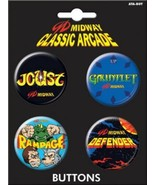 Midway Arcade Games Carded Set of 4 Round Name Logo Buttons NEW UNUSED - $4.99
