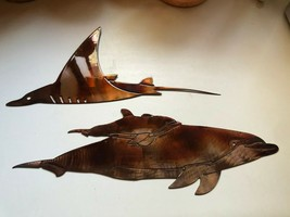 Dolphin Pair and Swimming Ray  Sea/Tropical Metal Wall Art Decor - $39.99