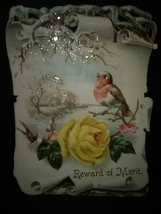 Antique Victorian Card Pretty Bird Glitter Roses - £7.67 GBP