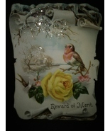 Antique Victorian Card Pretty Bird Glitter Roses - $10.00