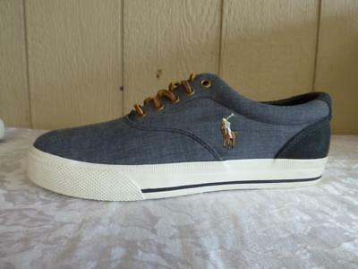 $59.00 Polo Ralph Lauren Vaughn Canvas /Suede Men's Sneakers, Gray, US 8.5, D