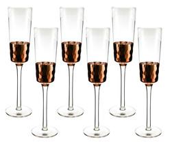 Fine Champagne Flute with Copper Fish Scale Finish 6 Piece set - $39.05