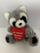 Russ Berrie My Heart Belongs to You Valentine's Day heart raccoon plush ... - $5.93
