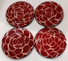 4 Red & White Floral Coasters - $9.50