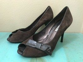 VIA SPIGA Dark Brown Patent Bow Suede Leather Heels Pumps Women's Size 8 M Italy - $27.08