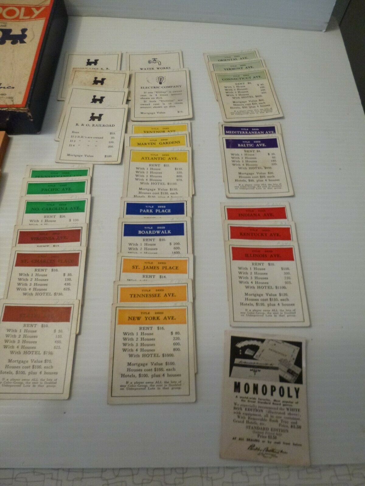 Vintage Late 1930s Monopoly Game Box wooden pieces,cards,Money image 3